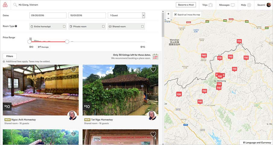 airbnb-web-interface