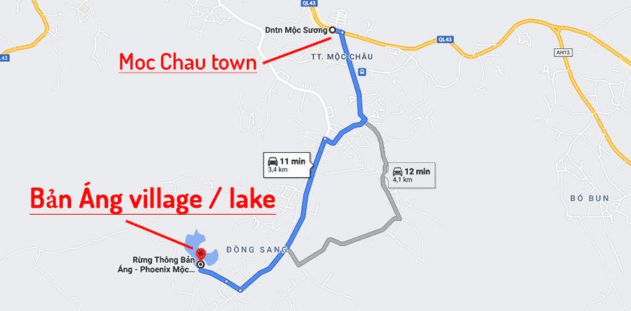 ban-ang-village-lake-moc-chau-map